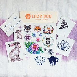 Goody Bag - LAZY DUO手繪刺青紋身貼紙|福袋C・貓奴/水彩兔子/柴犬/小花草 ·