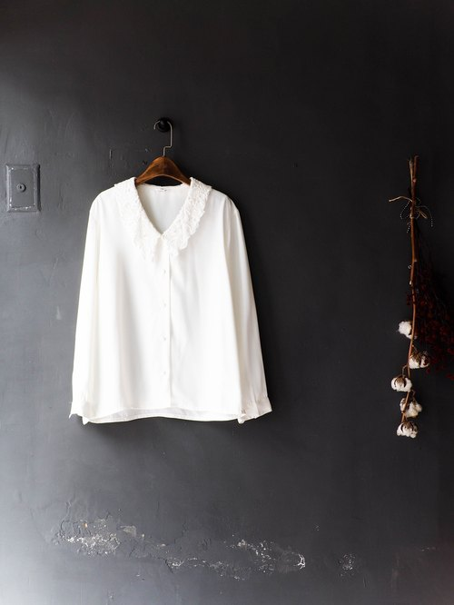River Hill - milk white-collar sub-basket empty antique silk shirt lace Spring girls Jacket shirt oversize vintage