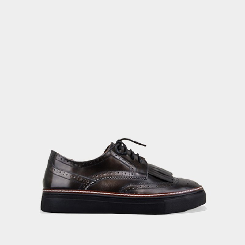 7118 black polished silver derby casual shoes