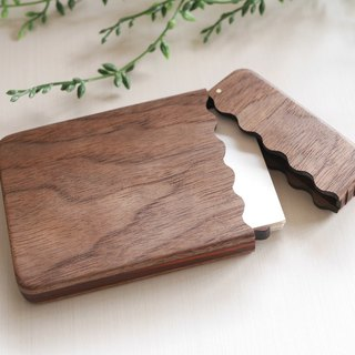 Wooden business card case 【wave】 Business Card Case