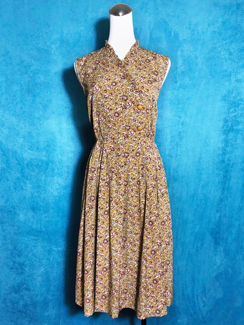 Side buckle flower ruffled sleeveless vintage dress / abroad to bring back VINTAGE