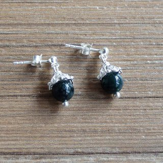 Indian green agate | Sterling silver x earrings. customized.