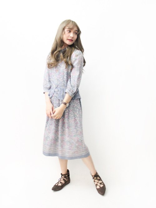 【RE1004D1467】 early autumn Japanese system retro classic totem gray seven-point sleeve ancient dress