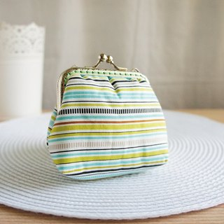 Lovely (Japanese cloth) horizontal stripes large capacity gold bag ‧ purse, blue and green