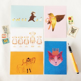Animals postcard 5 set Kuma chick duck sheep horse bird Mejiro bear cat hairdresser Horse riding ribbon summer straw hat braid