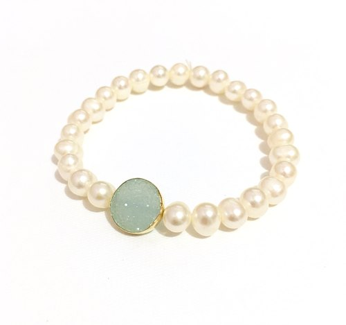 Two-color blue chalcedony with lemon crystal bracelet