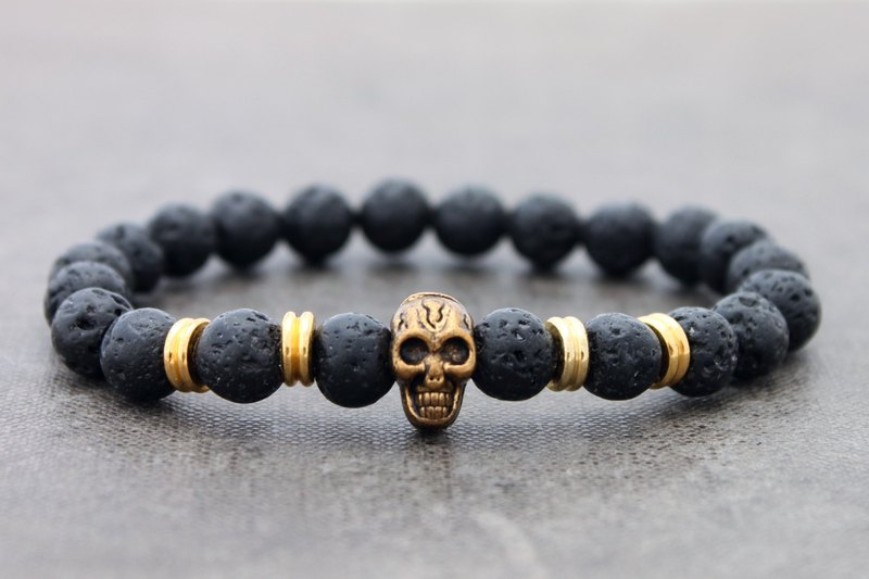 Beaded Lava Stone Bracelets Stretch Skull Men Unisex