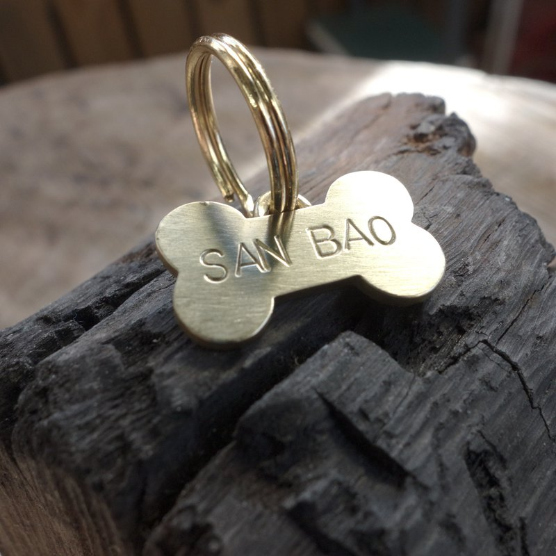 Brass Bone Pet Tag - Handmade