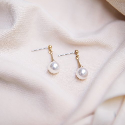City girls series Shihua Luo Shiqi pearl beads brass gold earrings can be folder type