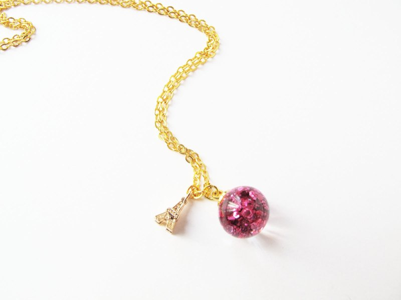 *Rosy Garden* Pink glitter with water inisde glass ball necklace