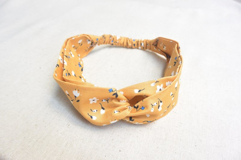 Elastic hair band - yellow floral