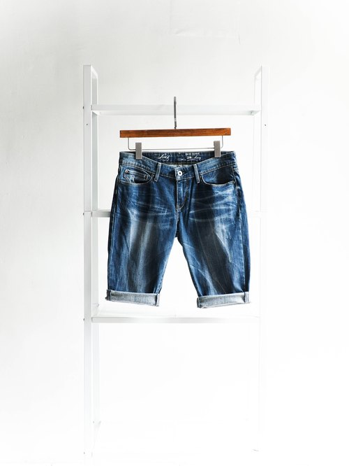 River water mountain - levis W28 Shizuoka blue sky youth log cotton tannin antique shorts ancient leather denim pants vintage