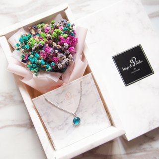 [Christmas Cloud Pattern Gift Set] Color Dry Star Bouquet + Sky Blue Round Stone Necklace