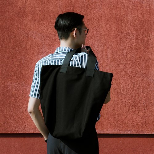 Canvas shoulder bag - black / large capacity tote bag / lightweight casual portable side backpack / zipper ultra safe