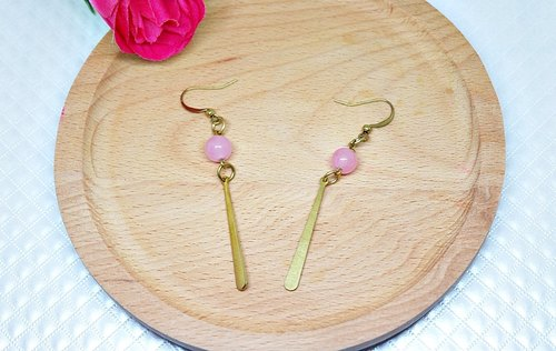 Brass X natural stone * powder water drops * - hook earrings