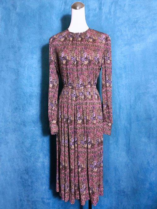 Complex pink flowers long-sleeved vintage dress / bring back VINTAGE