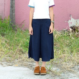 Originality does not hit the shirt comfortable cotton and linen slim wild style trousers [light long pants] blue (C-06)