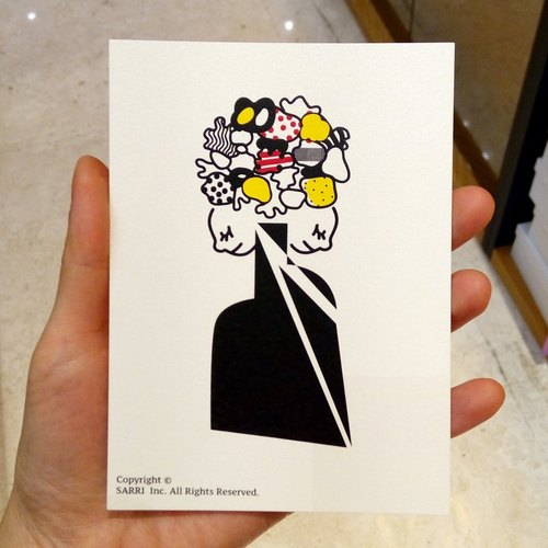 """Vase"" postcard birthday card design coloring illustration card this card universal card art fine modern lover love special interesting strange weird lovely taiwan yellow fun funny eye-catching tide art sequins flash cool different famous local f"