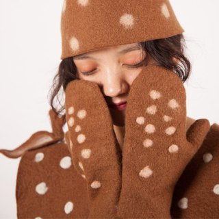 Ke people original design pure wool hand deer gloves autumn and winter wool felt little fresh gift Sen system sweet