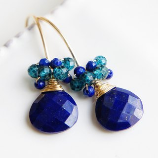 Lapis Lazuli Drop Dangle Earrings 14k gold filled