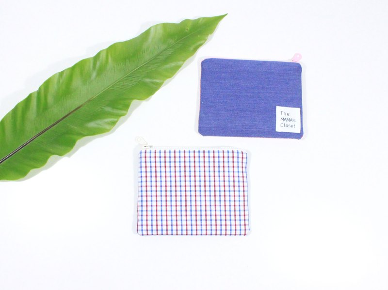 【The MAMA's Closet】Checked Series (Blue) / Coin Bag ( Pouch )