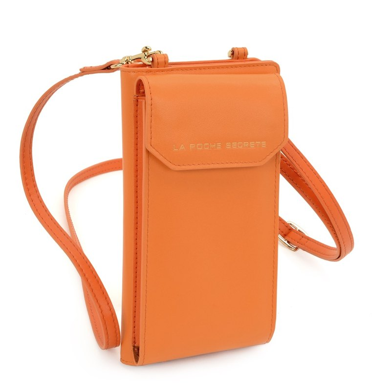 New Year's Eve Gift La Poche Secrete : Girl Full Leather Cell Phone Long Clip Pack _ Famous Orange