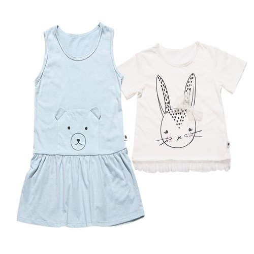 ★ combination of happy price ★ good sprouts rabbit organic cotton T + bear pocket dress