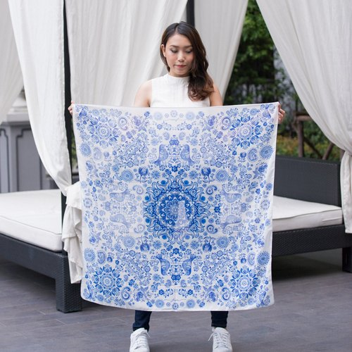 Glory Blue - Blue and White Porcelain Scarf