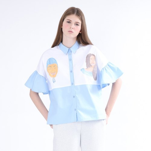 Miss ZIZTAR who flounced collar shirt