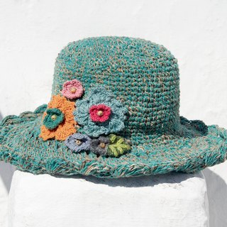 New Year's gift a limited hand-woven cotton cap / knit cap / hat / visor / hat / straw hat - knit flower forest wind (green)