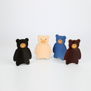 [Tangent pie] cute bear out of the key bag handmade leather key bag can do bag ornaments