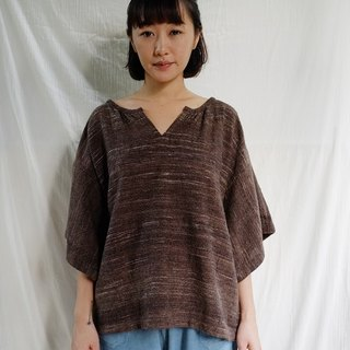 linnil: Brownish blouse / Hand weaving