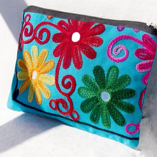 Valentine's Day gift a limited edition hand-embroidered long admission package / national wind bag / camera bag / cosmetic bag / cell phone bag / clutch - boho colorful flower embroidery national wind totem