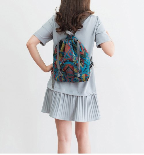 Blue handmade womens backpack-girls bags 604m