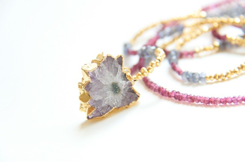 Flashing amethyst long chain / Amazing Amethyst stalactite slice with 24k G plated necklace