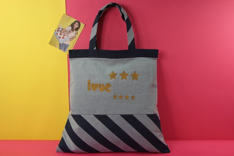 Lovely Greetings Denim Tote Bag