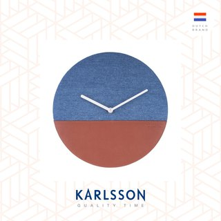 荷蘭Karlsson wall clock leather jeans blue 牛仔布皮革掛鐘