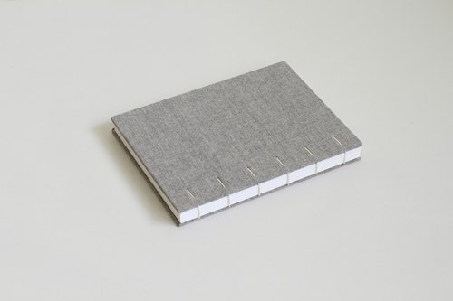 Hardcover Notebook in Gray Cloth- Coptic Bound (the hidden diagonal stitch)