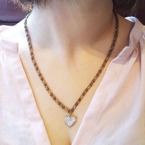 Heart ◆ love / modeling drill / zircon / lace brass / gorgeous / handmade / elegant long necklace gift