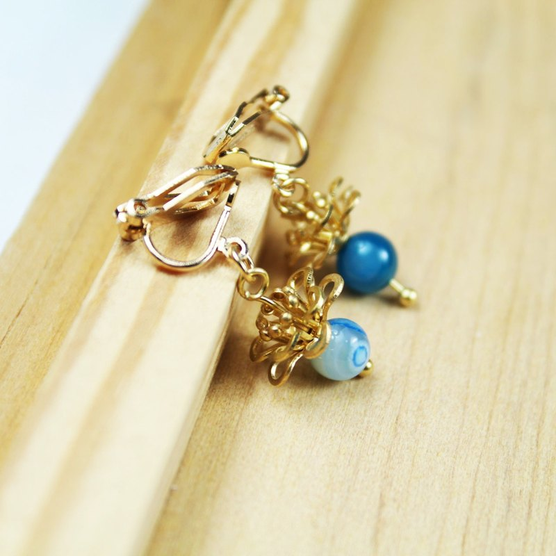 【Collection of gold lake】 sea flower earrings blue gold section | clip-on earrings earrings can be changed 925 silver | blue stripes agate | brass | natural stone earrings, Chinese ancient wind ornaments E2