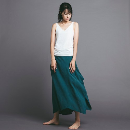Irregular cotton and linen dress - Blue Green