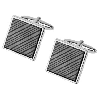 Laser Engraved Gunmetal Diagonal Stripes Cufflinks