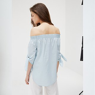 Mercerized Cotton Canopy Sleeve Top - Light Blue