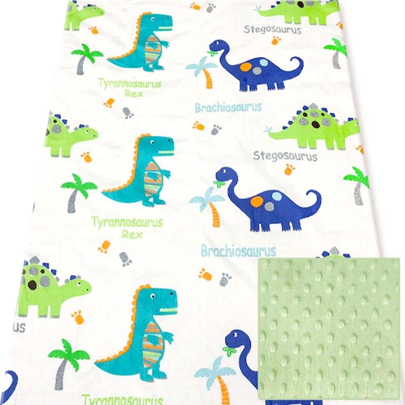 Minky多功能 點點顆粒 攜帶毯嬰兒毯冷氣毯被 薄荷綠-恐龍