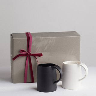 Goody Bag - [3,co] Water Wave Mug Gift Set (2 pieces) - White + Black