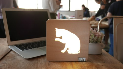 Wooden Table Lamp Cat