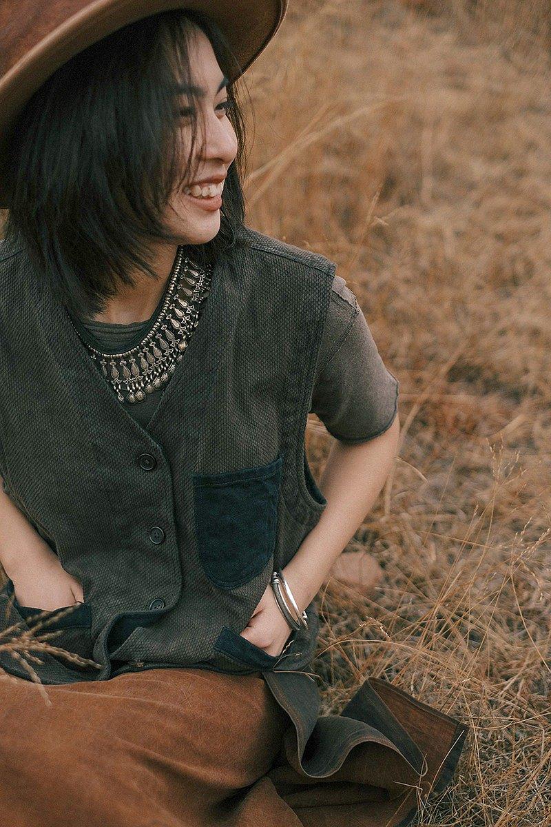 灰咖色 2色可選 植物染劍道服馬夾 男女同款 天然有機棉復古工裝