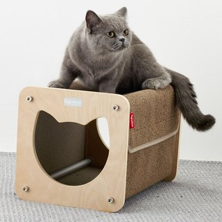 A good cat house (for cats). The carpet material is resistant to scratching and can be washed in a washing machine.