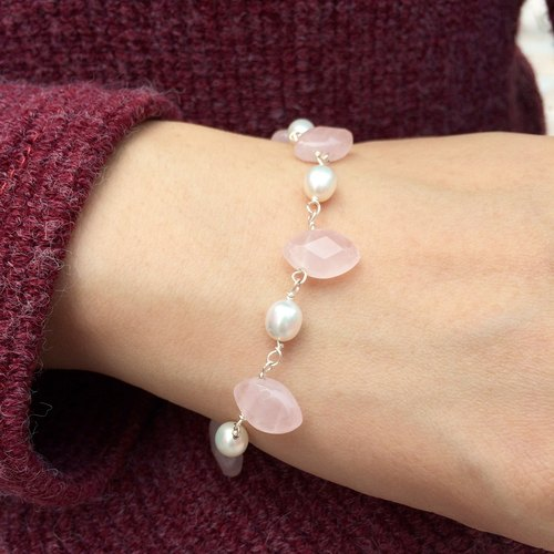 Mermaid Princess series original handmade crystal pearl bracelet ice leaf section models | Miss Flora original design brand