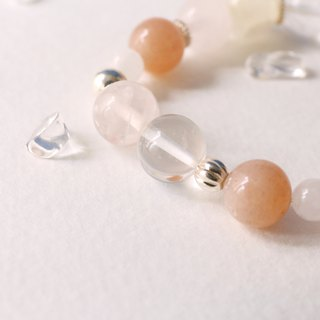 Orange Moonstone Powder Crystal White 925 sterling silver bracelet Moonlight Umbilical female creativity